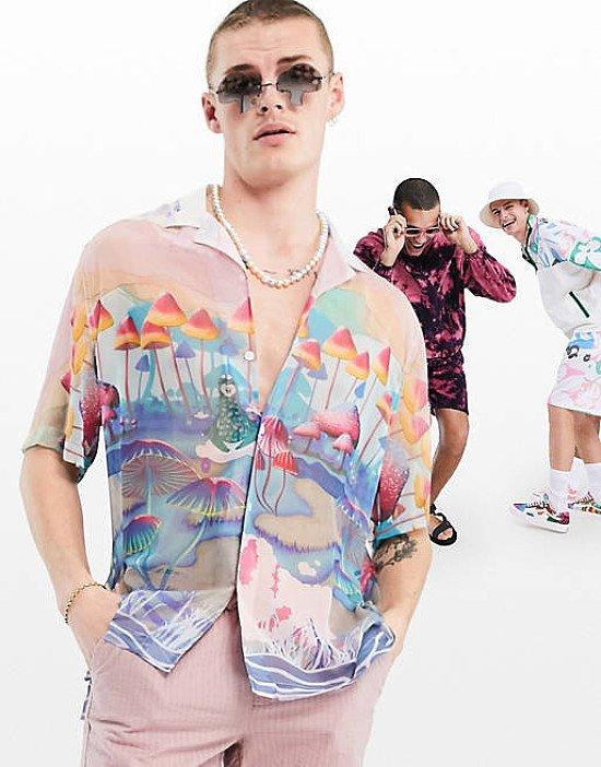ASOS DESIGN relaxed revere sheer shirt with mushroom print - £25.00!