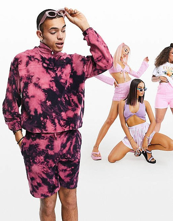 ASOS DESIGN oversized tie dye co-ord in towelling with chest print - £20.00!