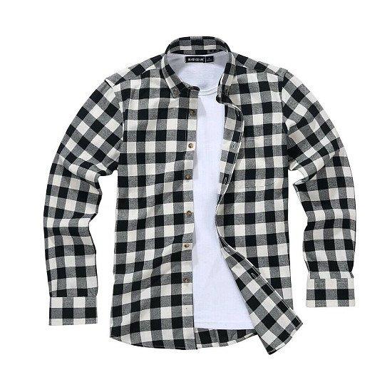 Men's Lumberjack Tartan Shirt, Black White Rebel.