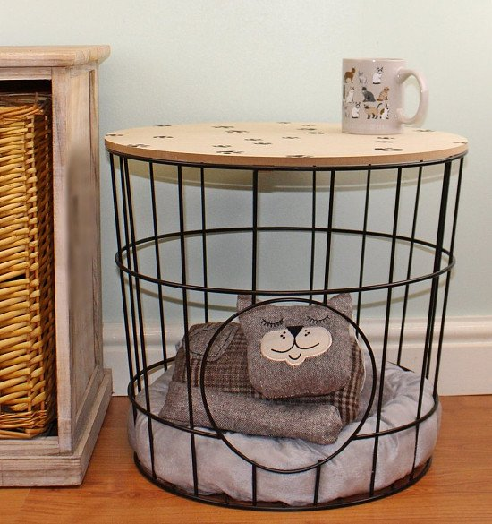 Side Table with Pet Bed & Pillow Included