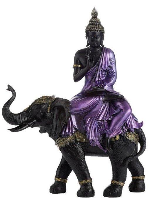 PURPLE, GOLD AND BLACK LARGE THAI BUDDHA RIDING ELEPHANT
