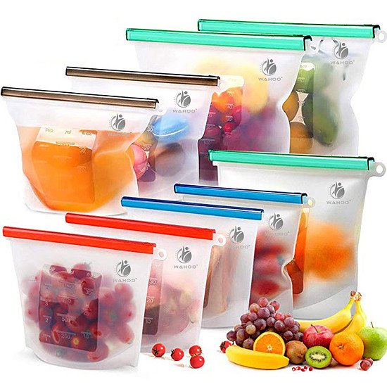 WIN THESE REUSABLE SILICONE FOOD STORAGE BAGS - SET OF 6 BAGS