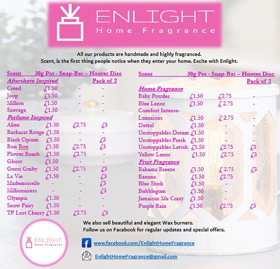 Our scent list. Some amazing fragrances here.