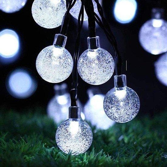 50 LED Solar Powered Garden Party-White