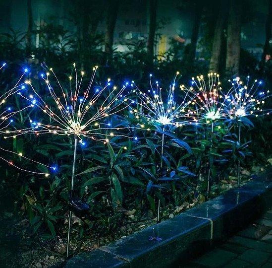 Garden Path Lights Solar Power Firework Lamp Starburst Stake Outdoor 1 piece