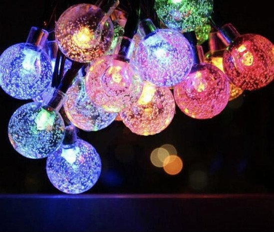 Multicolor ) Outdoor Solar-Powered 60-LED String Lights - 12M