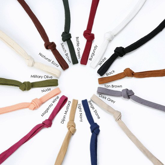 Flat Cotton Cord Drawstring for Sweatshirt Hoodie 10 & 15mm,Metal Toggle Stopper