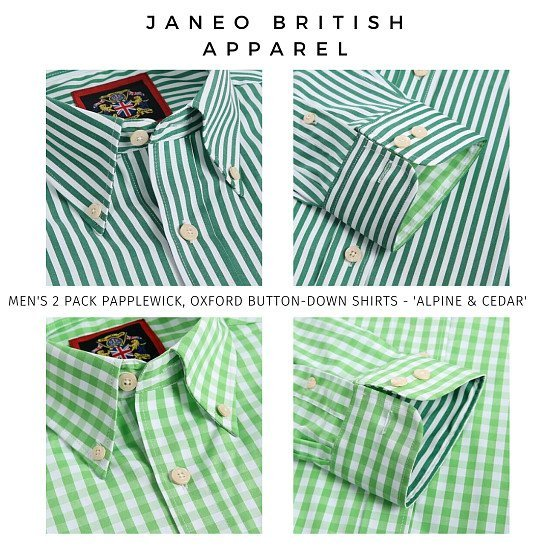 Oxford Men's Shirts,Papplewick 1 Striped & 1 Checked