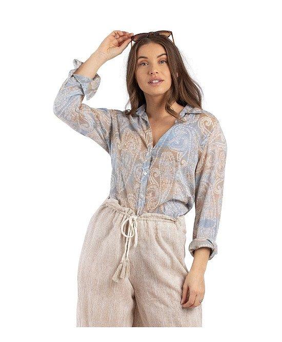 Sky & Sand Wave blouse, topstitching, Cotton.