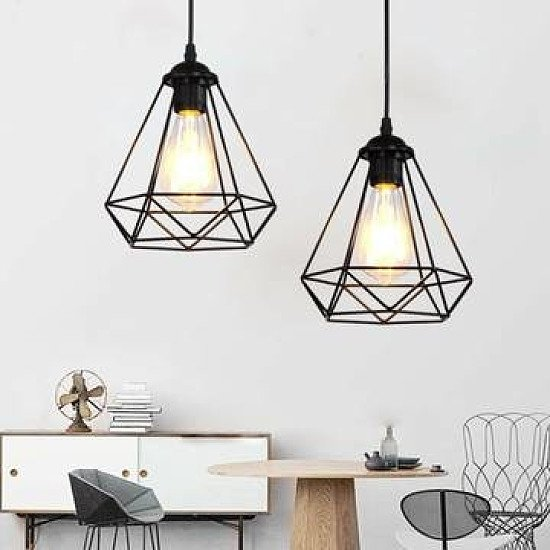 Wire Cage Style Retro Ceiling Pendant Lightlamp Shade Metal (free p&p)