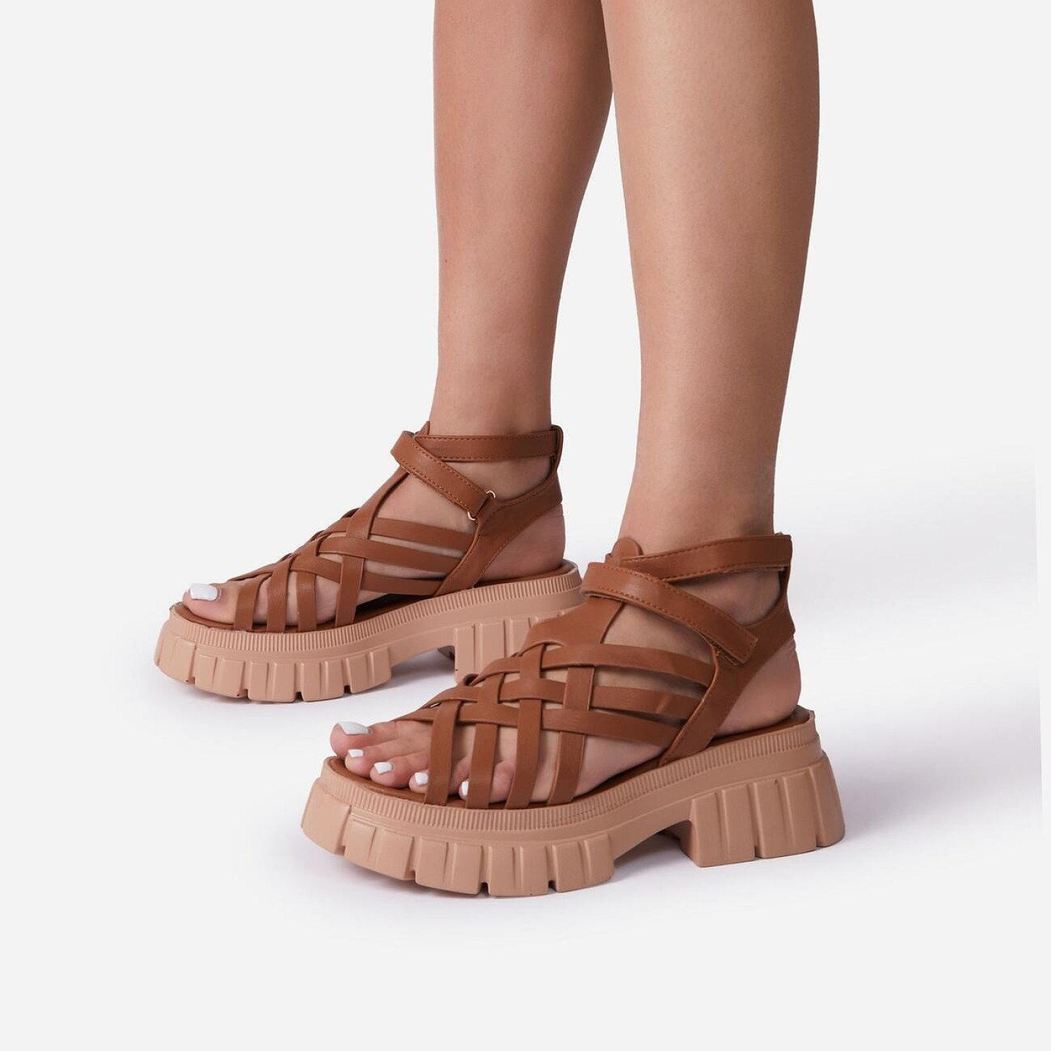 SAVE - Daydreamer Chunky Sole Caged Gladiator Sandal In Tan Brown Faux Leather