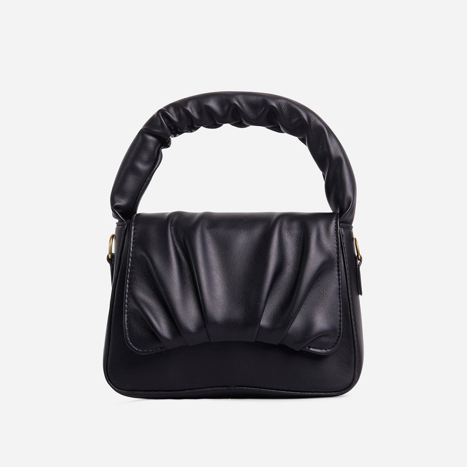 SAVE - Corra Ruched Detail Grab Bag In Black Faux Leather