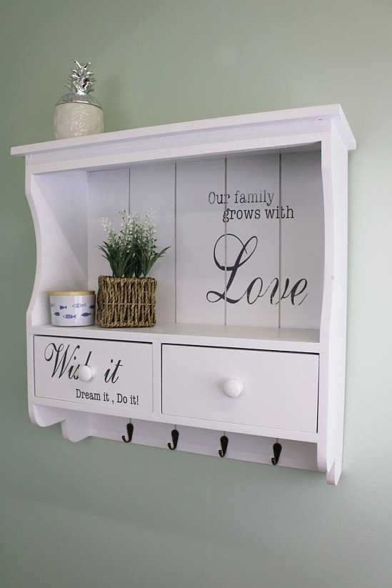 Feature Wall Display Unit - White with Hooks, Drawers & Shelf