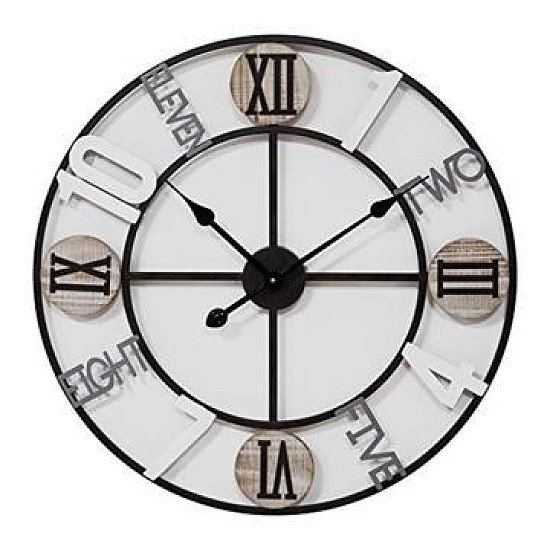 Cut Out Metal Wall Clock Mixed Dial 62.5cm (free p&p)