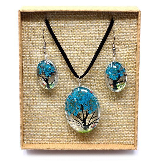Pressed Flowers Necklace & Earing Set