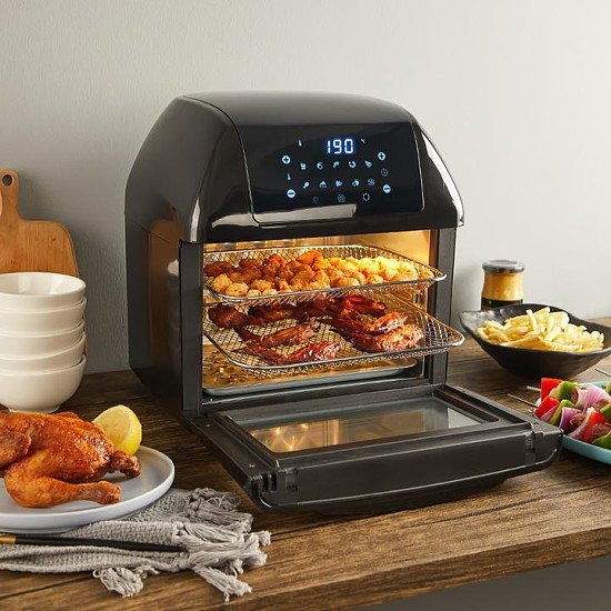 Yeeyo Electric Air Fryer Rotisserie Oven,,10-in-1 Fryer 12 Litre 1500W for Home Use