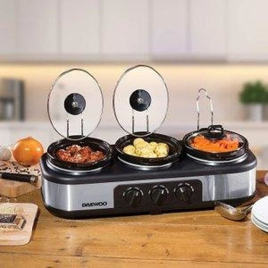 Daewoo SDA1334 3 x 1.5L Triple Slow Cooker