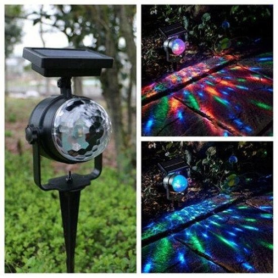 Solar LED Carnival Moving Colour Changing Spotlight Garden Party Stage Light