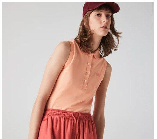 Women's Lacoste Slim fit Sleeveless Cotton Piqué Polo Shirt - £80.00!