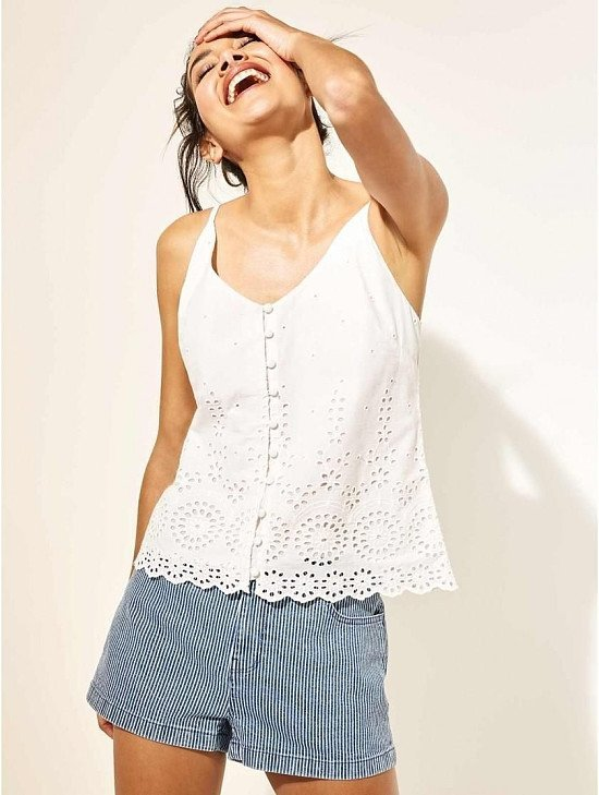 £6 Ex Store White Broderie Cami Top