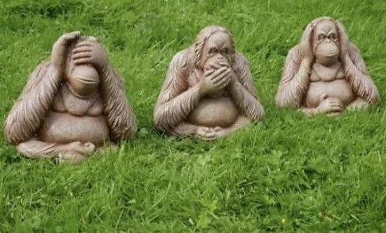 3 Large Wise Monkeys Garden Ornament No Evil See Speak HearOrangutan Statues