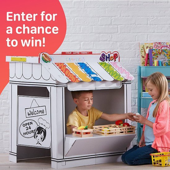 WIN a Colour-In Cardboard Shop Playhouse