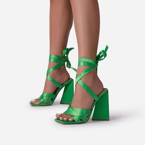 SAVE- Krista Women Stap Lace Up Block Heel