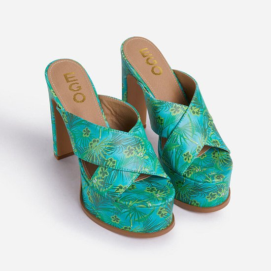 Save 50% Off Evermore Cross Strap Platform Thin Block Heel Mule In Green Leaf Print Faux Leather