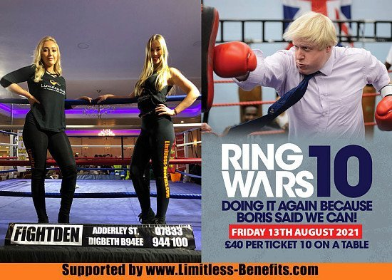 Win tickets to Ring Wars 10 Birmingham boxing supported by Limitless Benefits Ring Girls