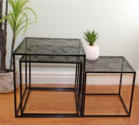 Small Set Of 3 Black Metal, Geometric Design Side Tables