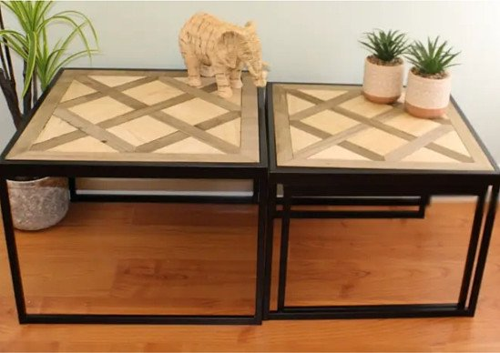 **LAST 3*** Set Of 3 Square Black Metal Side Tables With Wooden Geometric Tops
