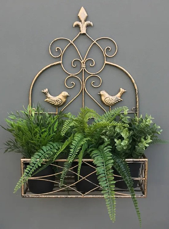 ♡♡ SAVE £5 PLUS FREE DELIVERY ♡♡ Small Gold Wall Planter 48.3 x 29.8 x 12.7cm