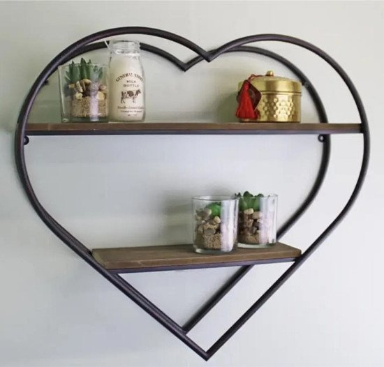 £29.99 FREE DELIVERY Heart Shaped Metal & Wood Shelf Unit