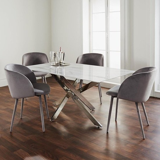 Silver Plated Marble Glass Dining Table