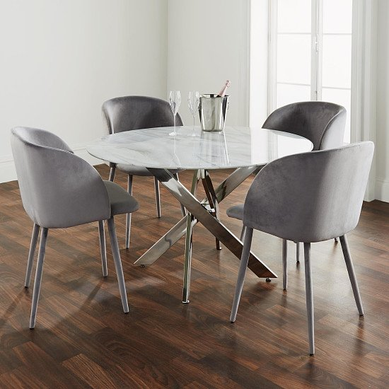 Silver Plated Marble Glass Round Dining Table - Save £££s!