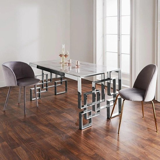 Marble Glass Silver Dining Table - Save £££s!