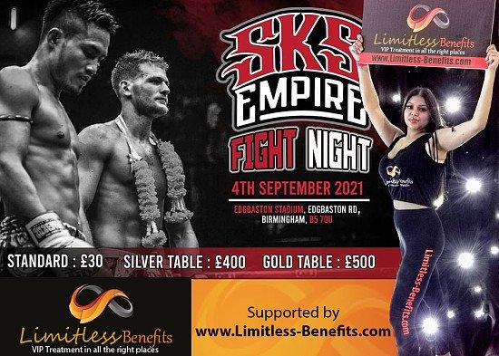 Win 2 free tickets to SKS Muay Thai FIGHT NIGHT 4th Sept 2021 Ring Girls Edgbaston Birmingham