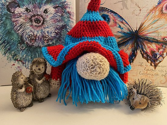 Handmade Crochet Gnome - Red and Blue
