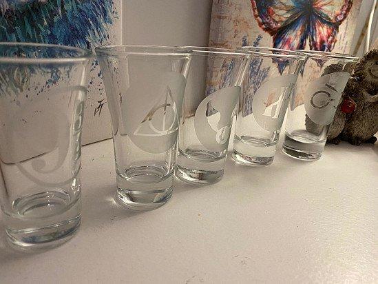 Hand Etched Shot Glasses - Harry Potter x5 glasses