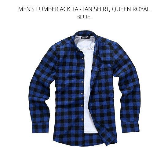 Men's Lumberjack Tartan Shirt, Queen Royal Blue.