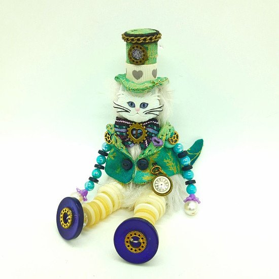 LORD LOVE A LOT STEAMPUNK BUTTON DOLL CAT - 20% discount available