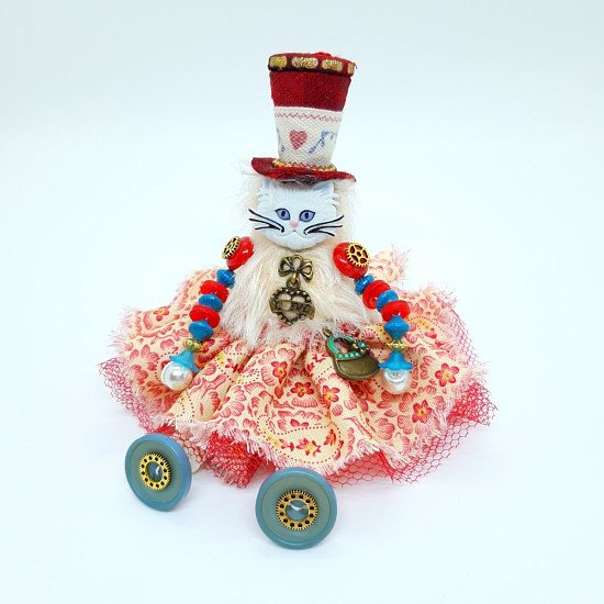 ENDLESS LOVE STEAMPUNK BUTTON DOLL CAT - 20% discount available