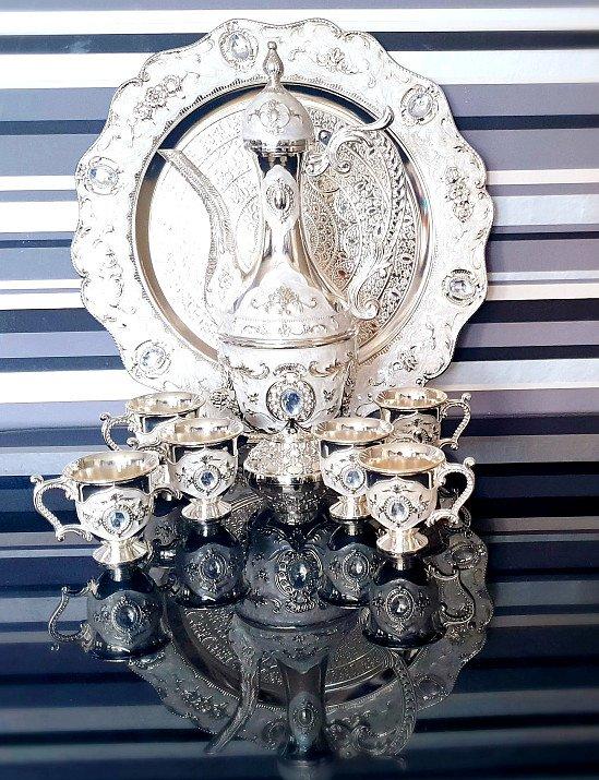 Luxury Vintage Hand-Engraved TeaPot Set 6 Cups