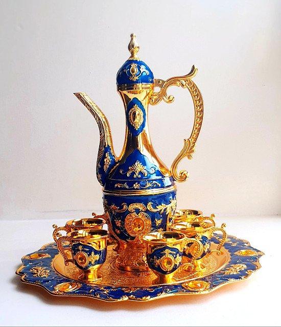 Vintage Luxurious Hand-Engraved Teapot Set BLUE
