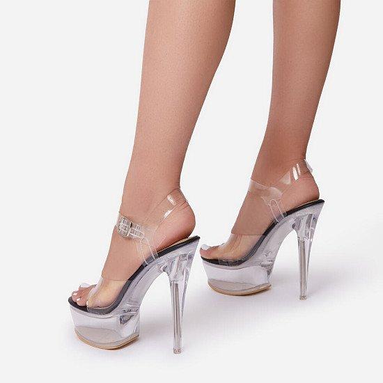 NEW! 50% Off Kandy Peep Toe Clear Perspex Platform Heel In Black Patent