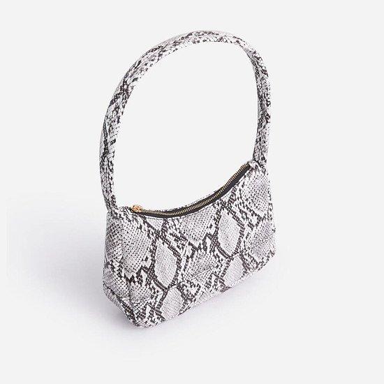 50% Off Gina Baguette Shoulder Bag In Grey Snake Print Faux Leather