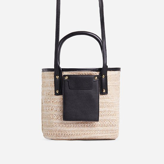 50% Off Maddie Pocket Detail Woven Basket Tote Bag In Black Faux Leather