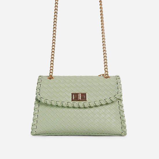50% Off Tayce Chain Strap Woven Cross Body Bag In Mint Green Faux Leather