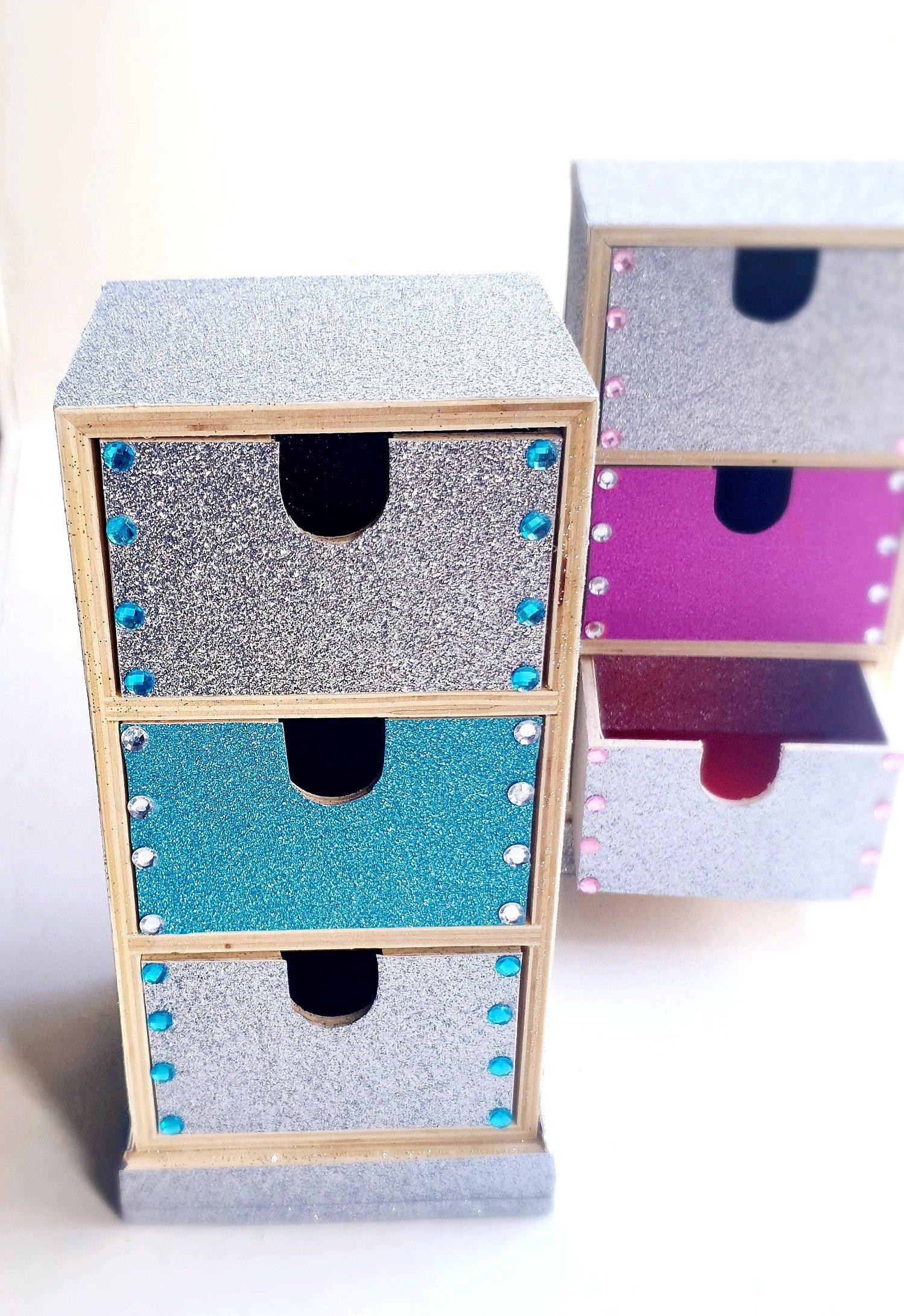 Handmade multipurpose 3 drawer set BLUE | Jewellery storage