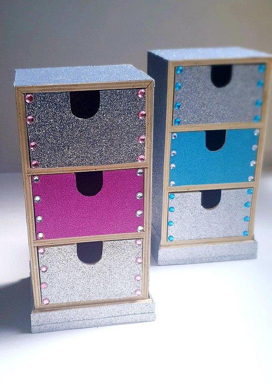 Handmade multipurpose 3 drawer set PINK   Jewellery storage